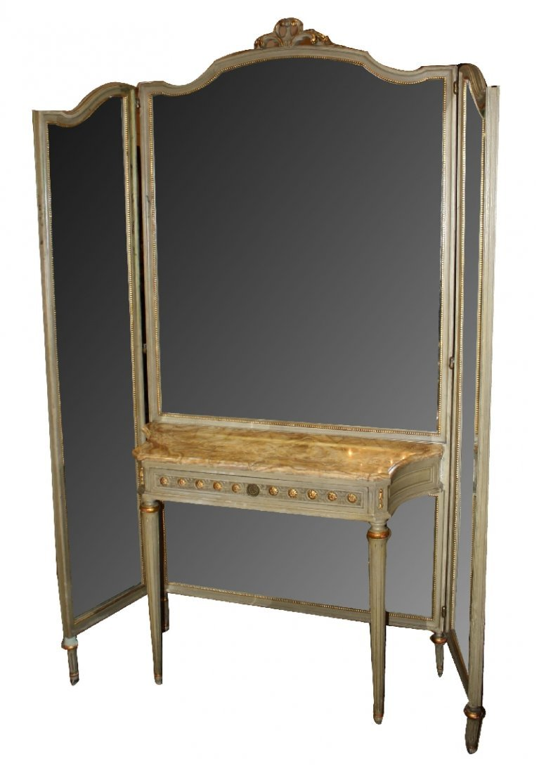 18: French Louis XVI style batwing vanity with triple m
