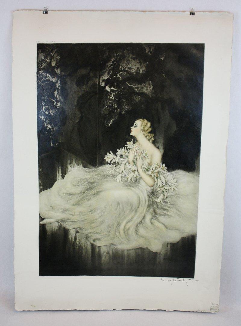 79: Original Louis Icart drypoint etching -Les Lys