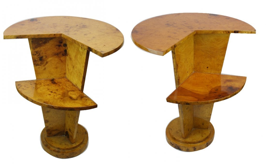 107: Pair of French period Art Deco tiered side tables