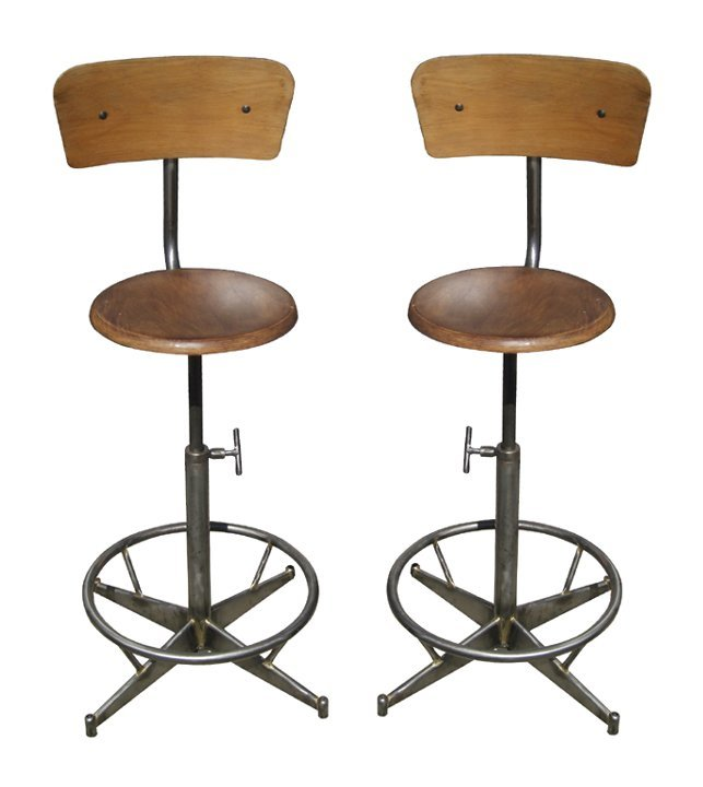 Pair of French Industrial bar stools in wood