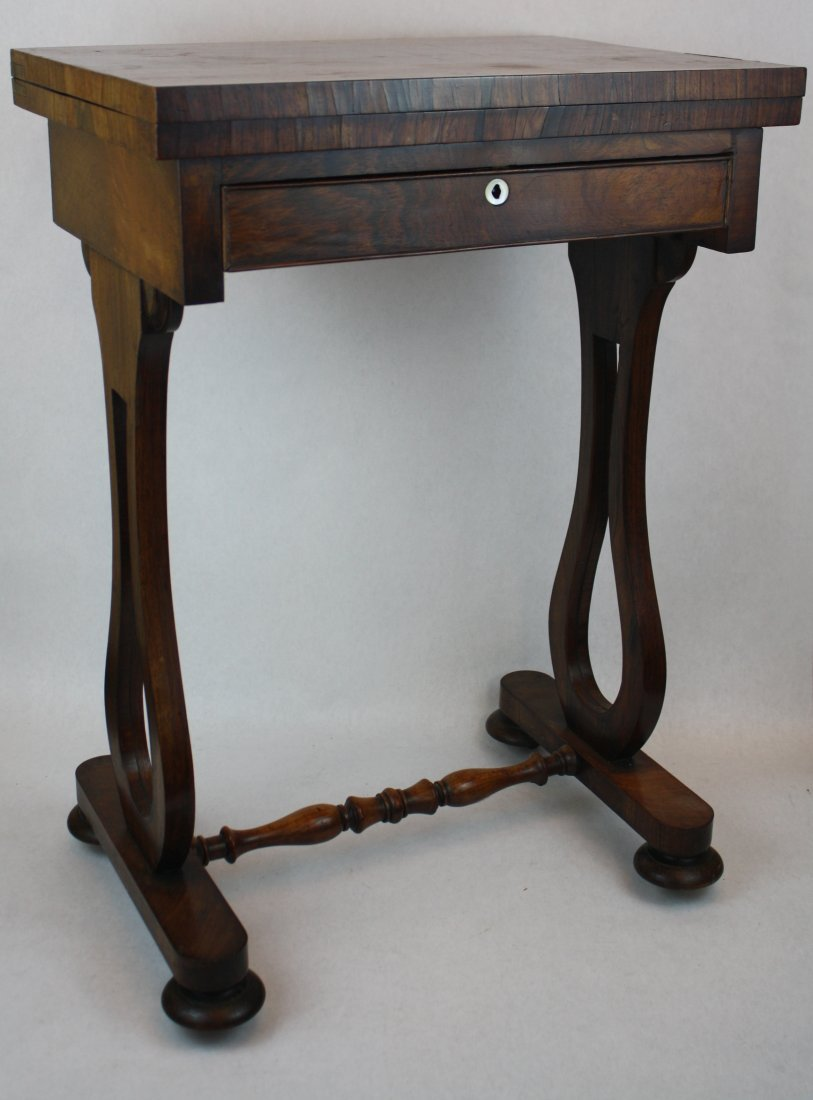 20: English Victorian rosewood lyre base game table