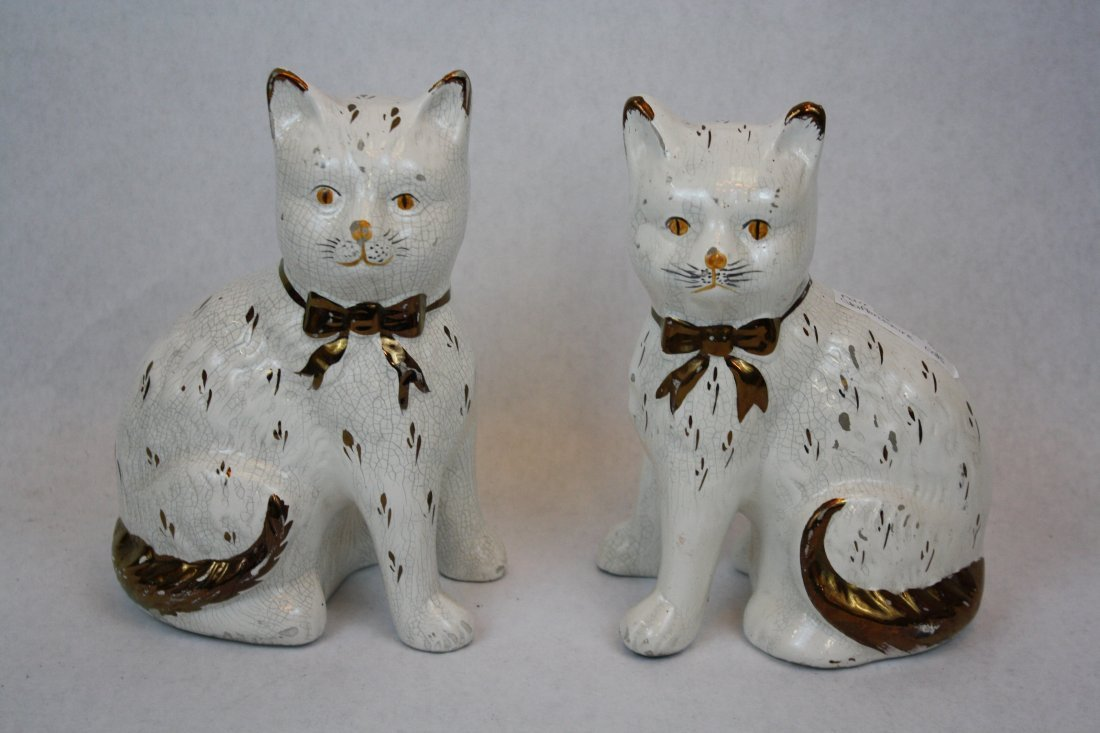 20A: Pair of English late 19th c Staffordshire cats