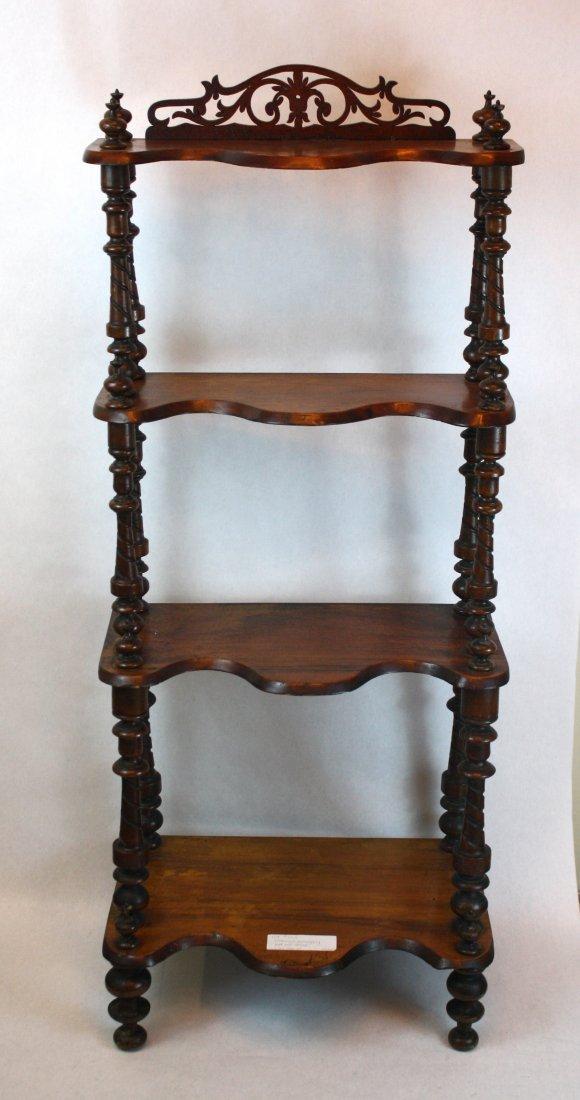 3: English mahogany etagere with turned columns
