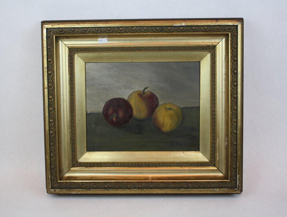 8: Oil on canvas-stillife with apples signed l/r Riley