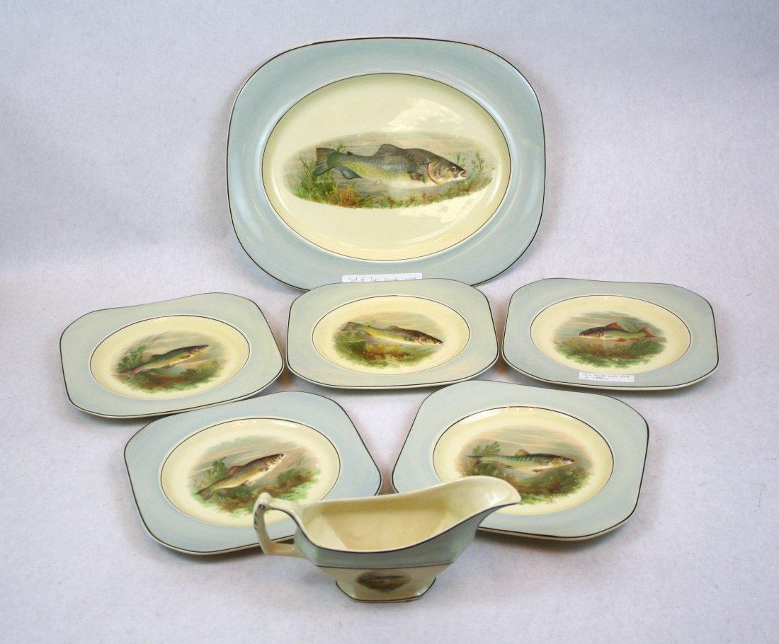 9: English Woods Ivory Ware china set of fish plates
