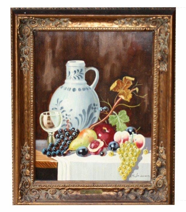 13A: Oil on canvas- Still life signed l/r K. Sascher