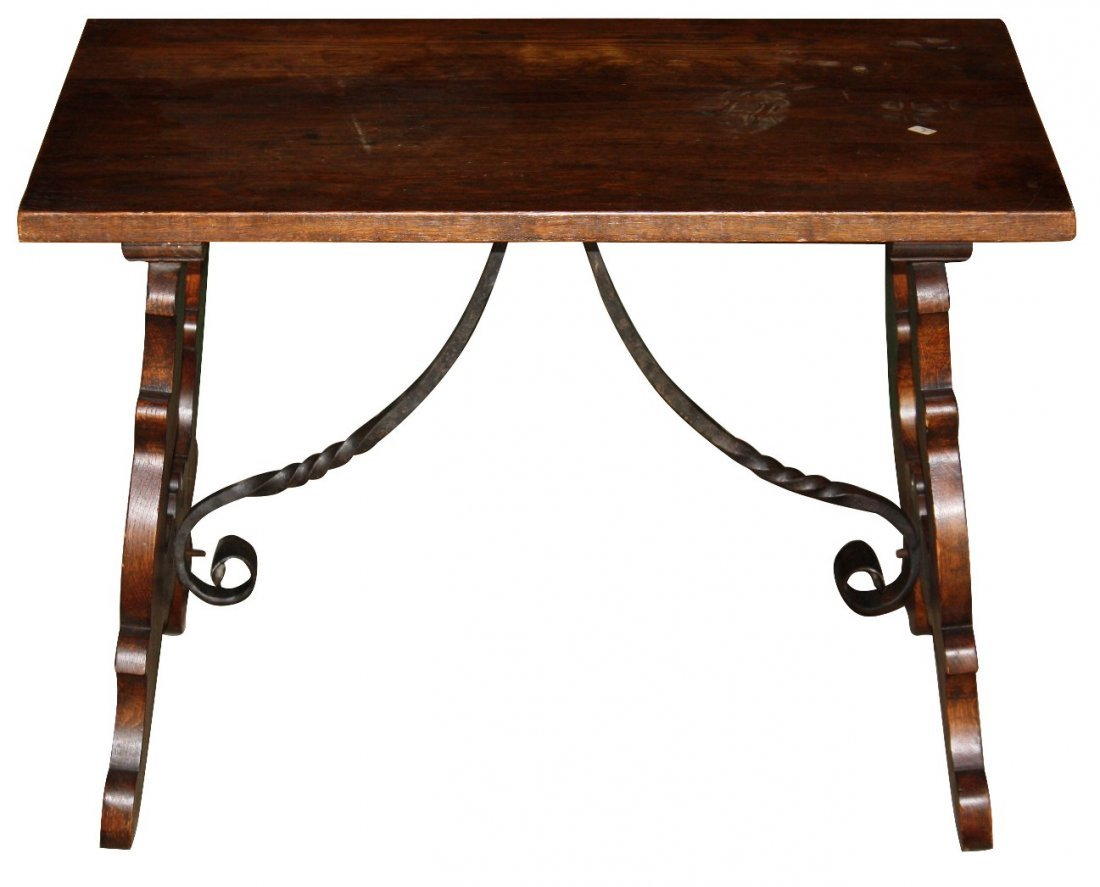 2: Small scale Italian trestle coffee table with iron