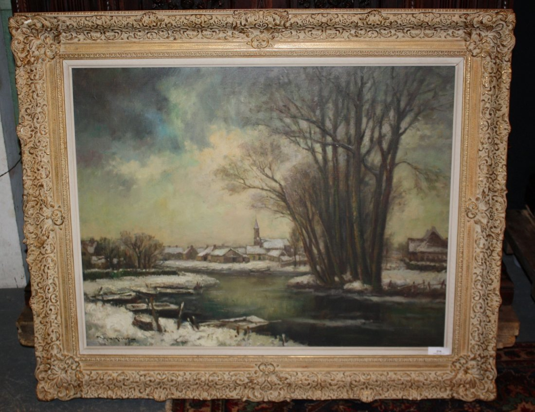 7: Achiel Lombaert Oil on canvas-winter landscape