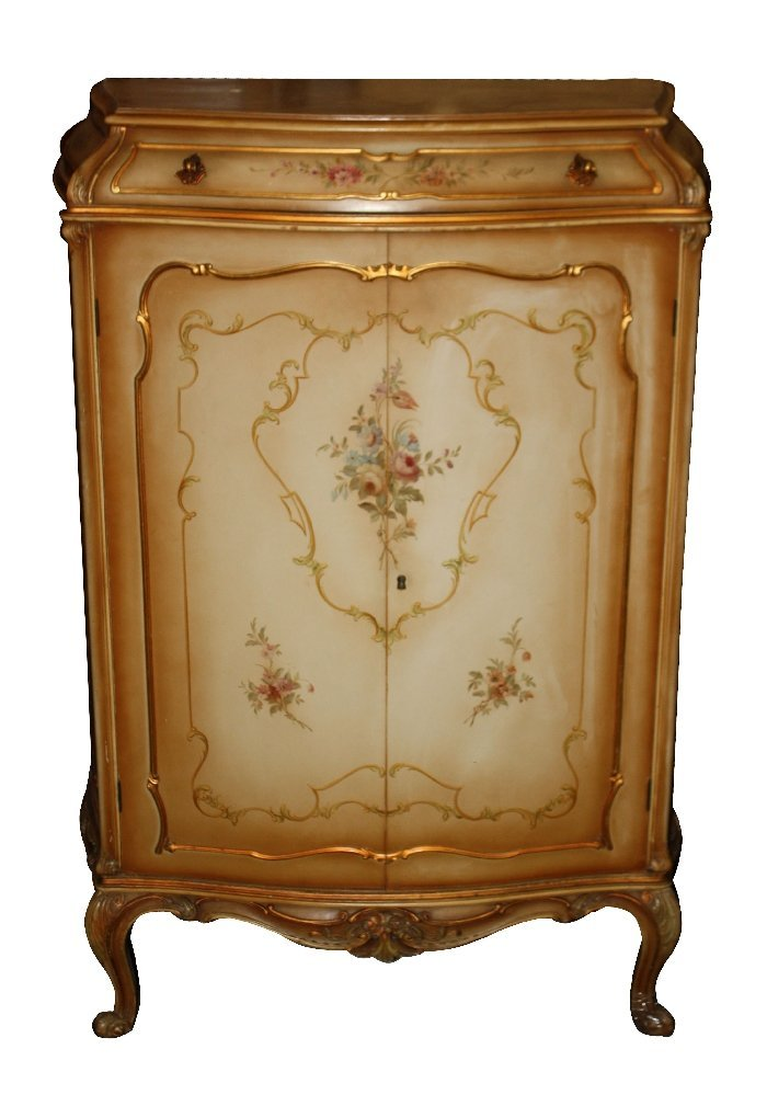 10: Venetian painted bar cabinet with mirrored interior