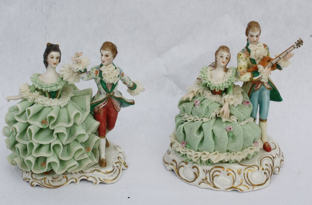 12: Pair of Irish Dresden musical figurines