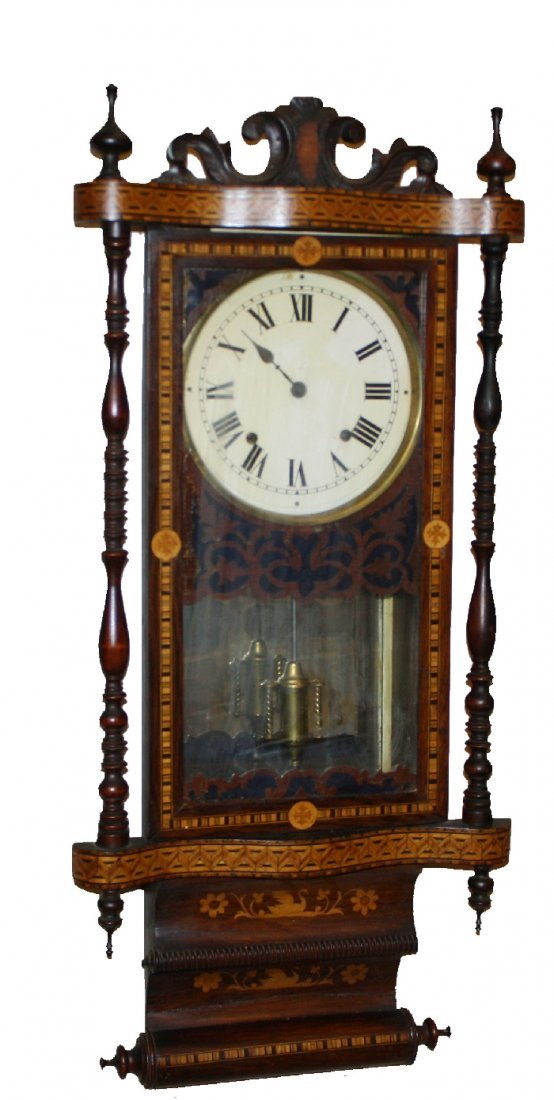 15: American Vienna wall clock with marquetry and spind