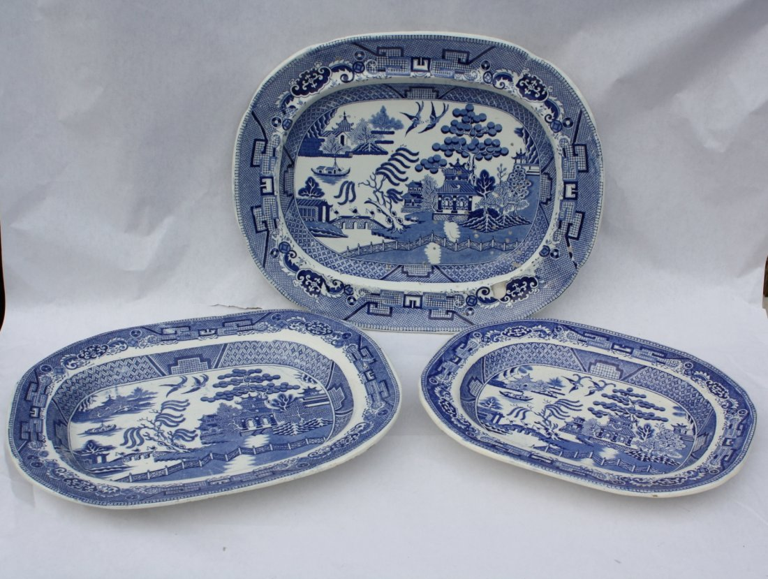 16: Lot of 3 English Blue Willow meat platters
