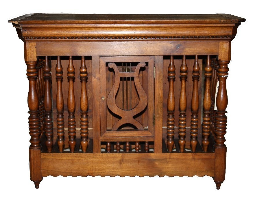 17: French Provincial walnut panetiere with carved