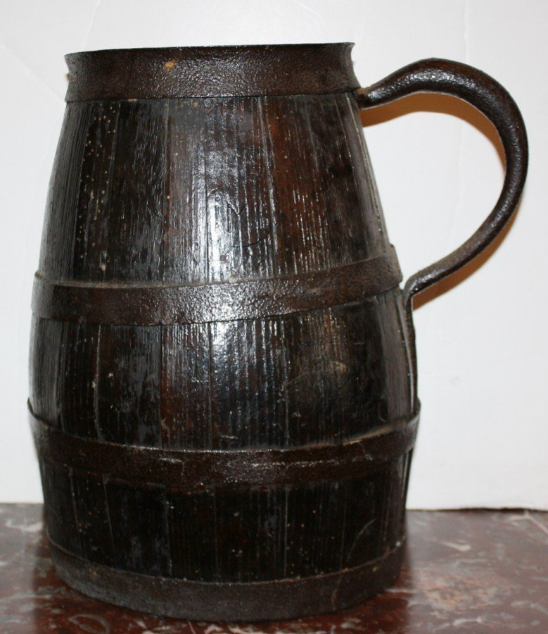19: French wooden wine pitcher