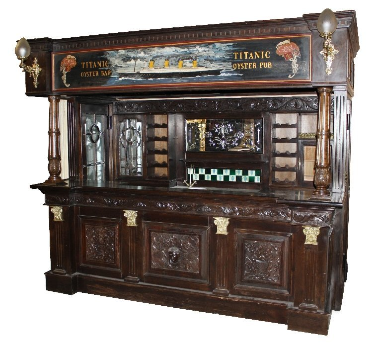 132: The Titanic Pub. Hand carved mahogany canopy bar
