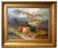 159 William Langley oil on canvaspastoral landscape