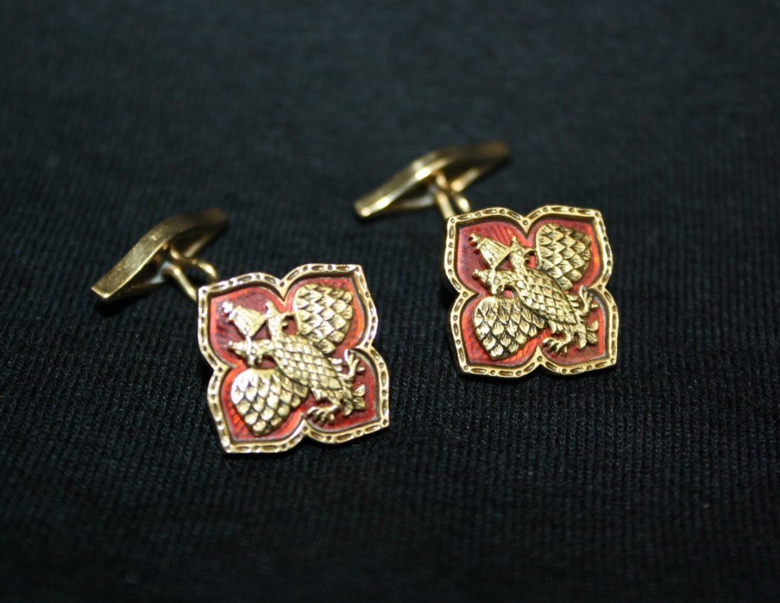 137A: A Pair of Faberge guilloche and gold cufflinks