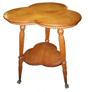 3: American 2-tier clover table with glass ball & claw