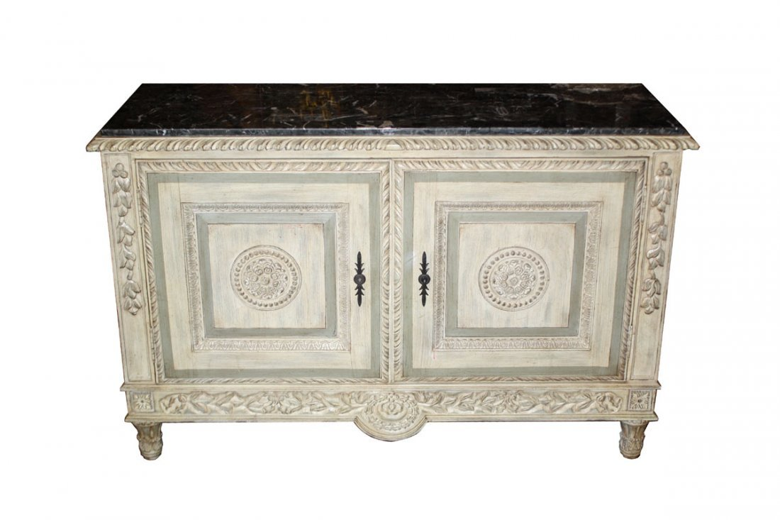 8: Painted 2 door sideboard with marble top