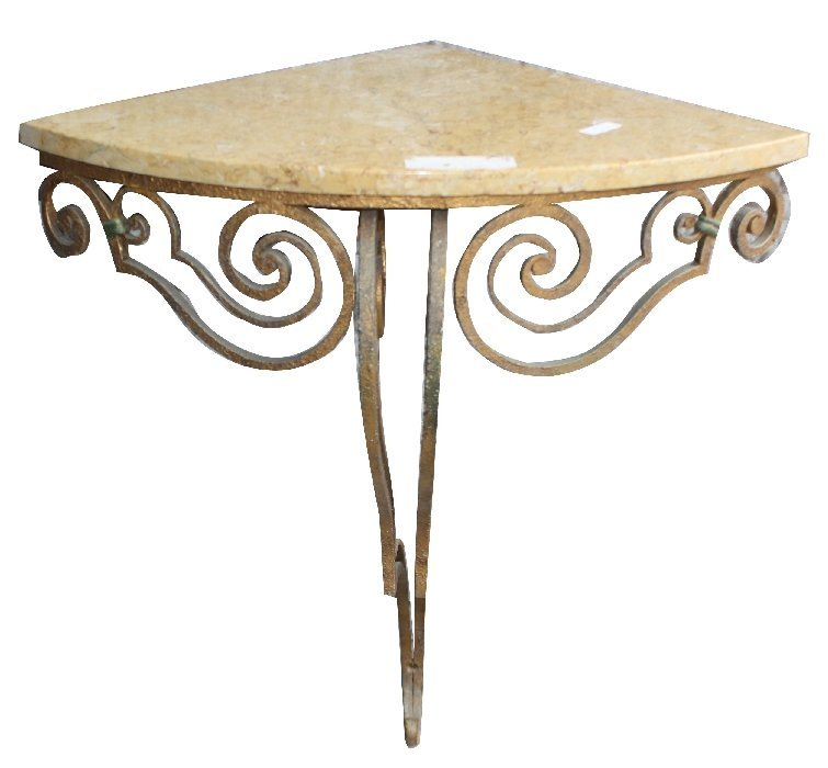 9: Italian iron Art Deco corner console with marble