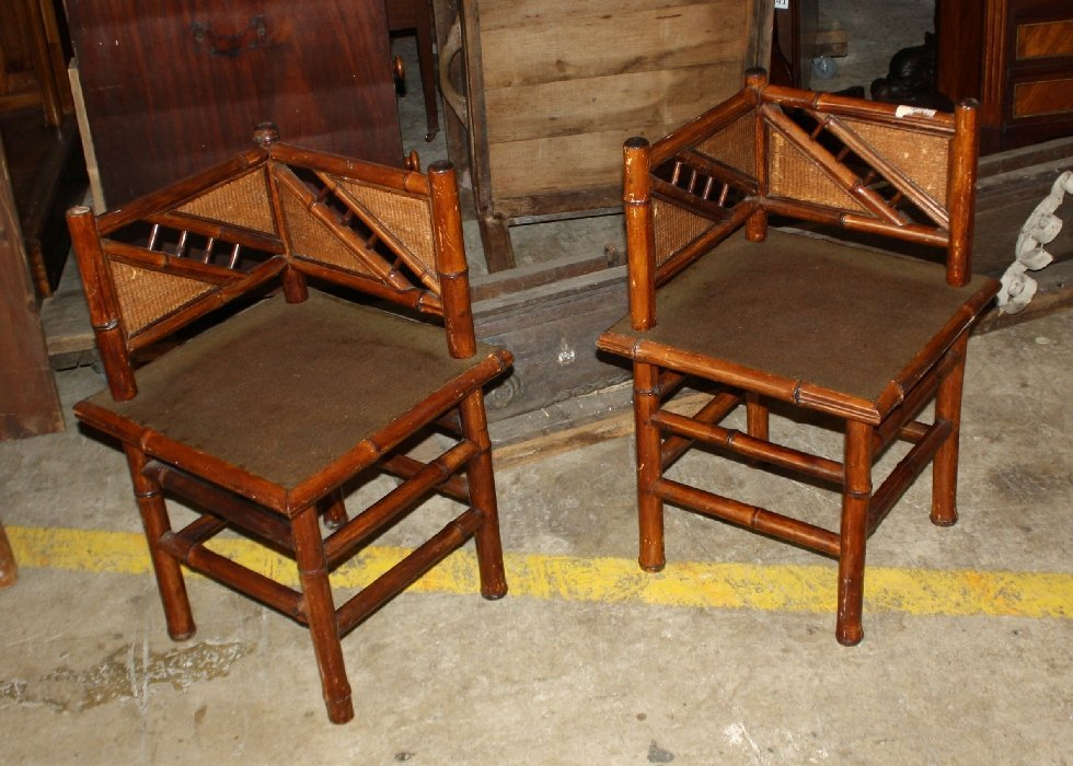 12: Pair of faux bamboo corner chairs with cloth seats