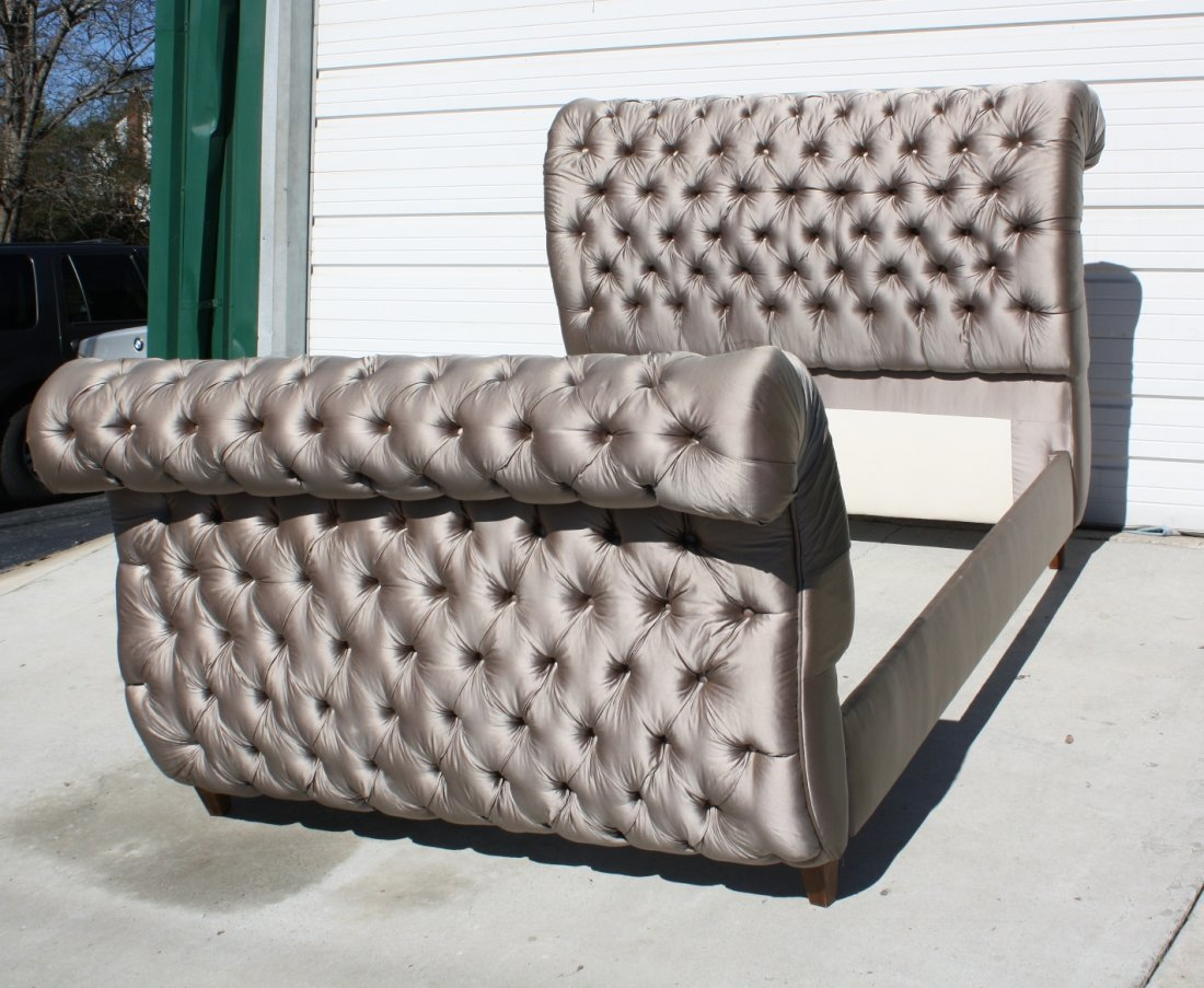 37: Queen size tufted silk upholstered sleigh bed