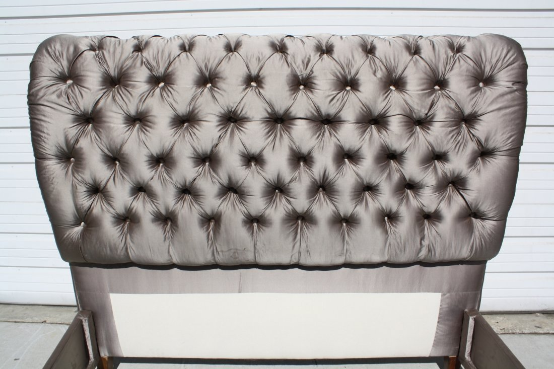 37: Queen size tufted silk upholstered sleigh bed - 3