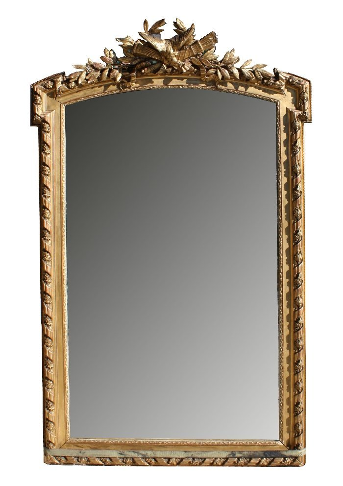 79: 19th century French Louis XVI gold leaf mirror