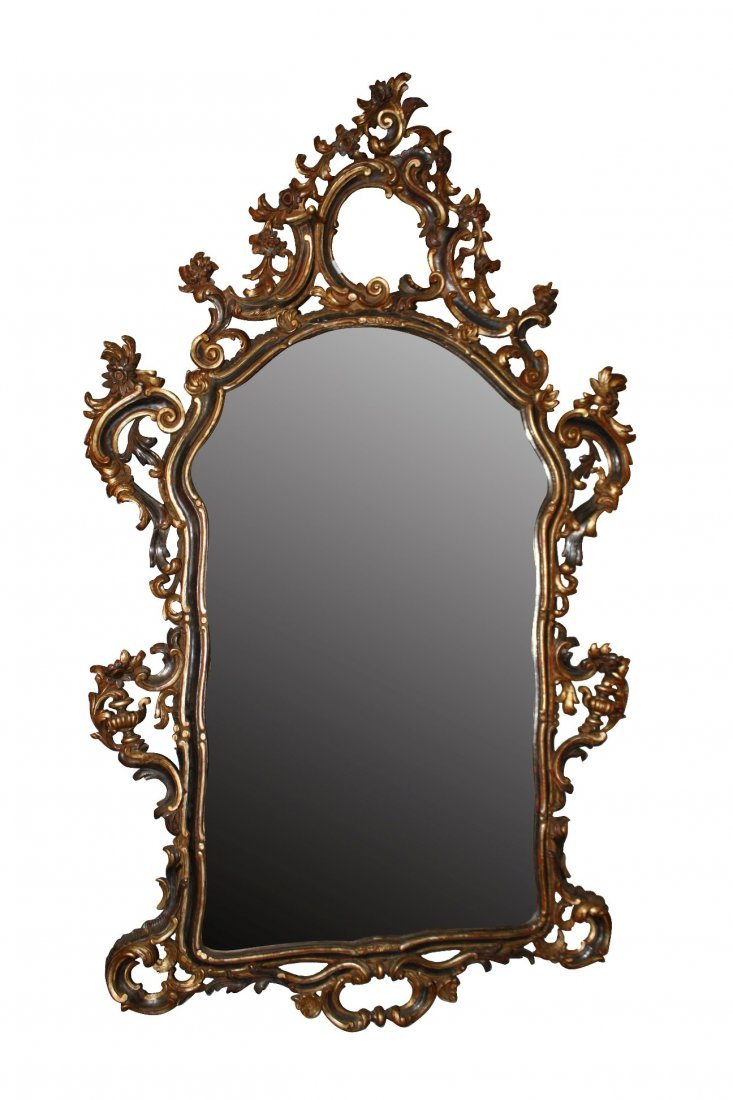 86: Italian Rococo painted & carved wood mirror