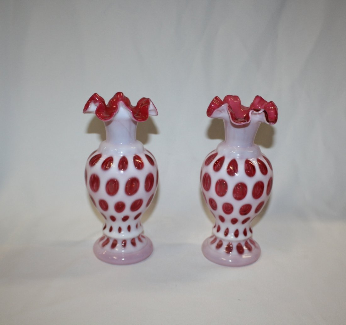 7A: Lot of 2 Fenton cranberry coin dot vases