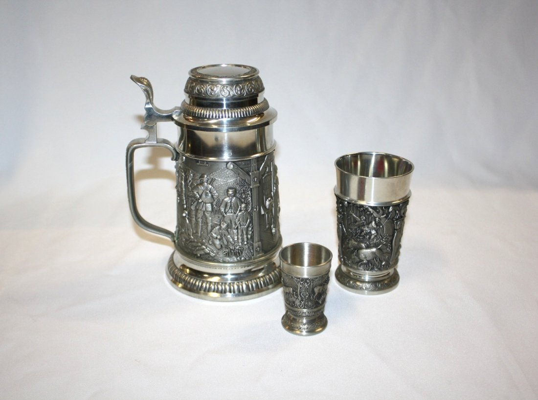 2A: 3pc W. German Feinzinn pewter beer stein, cup & sho