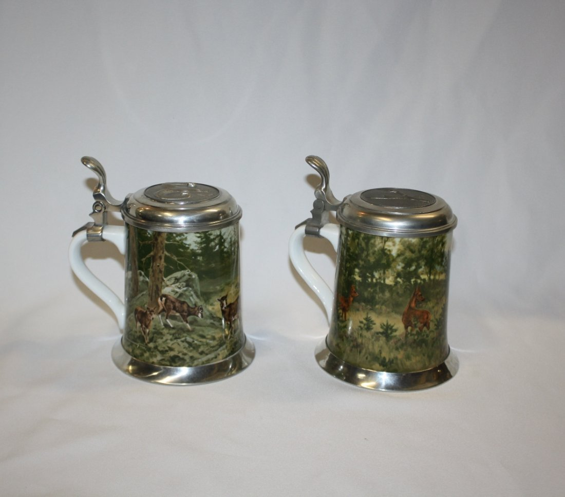 10A: Lot of 2 German Kaiser porcelain & pewter beer ste