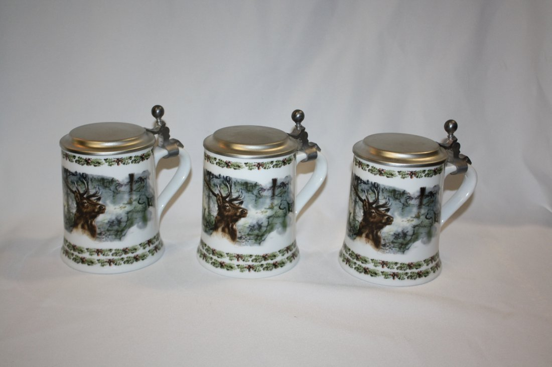 10B: Lot of 3 German Seltmann porcelain beer steins