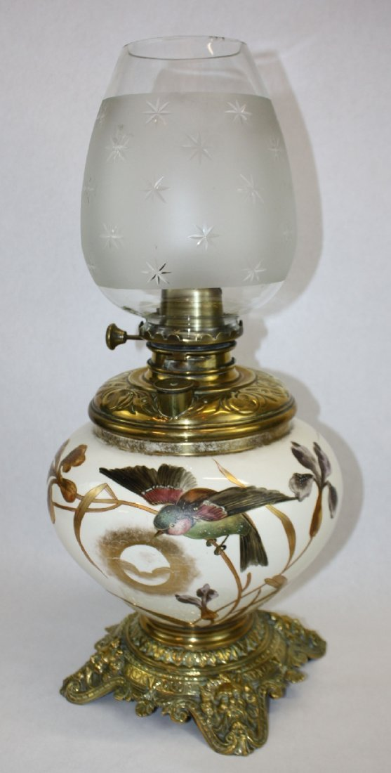 19th c English oil lamp with painted porcelain vessel