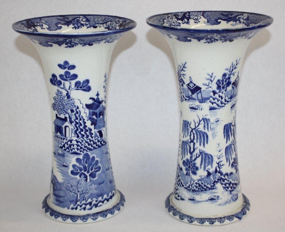 Pair of Masons Ironstone blue & white vases