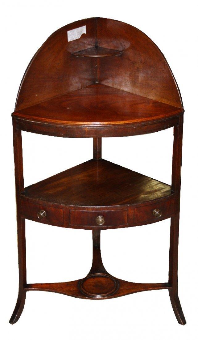 Georgian mahogany corner washstand