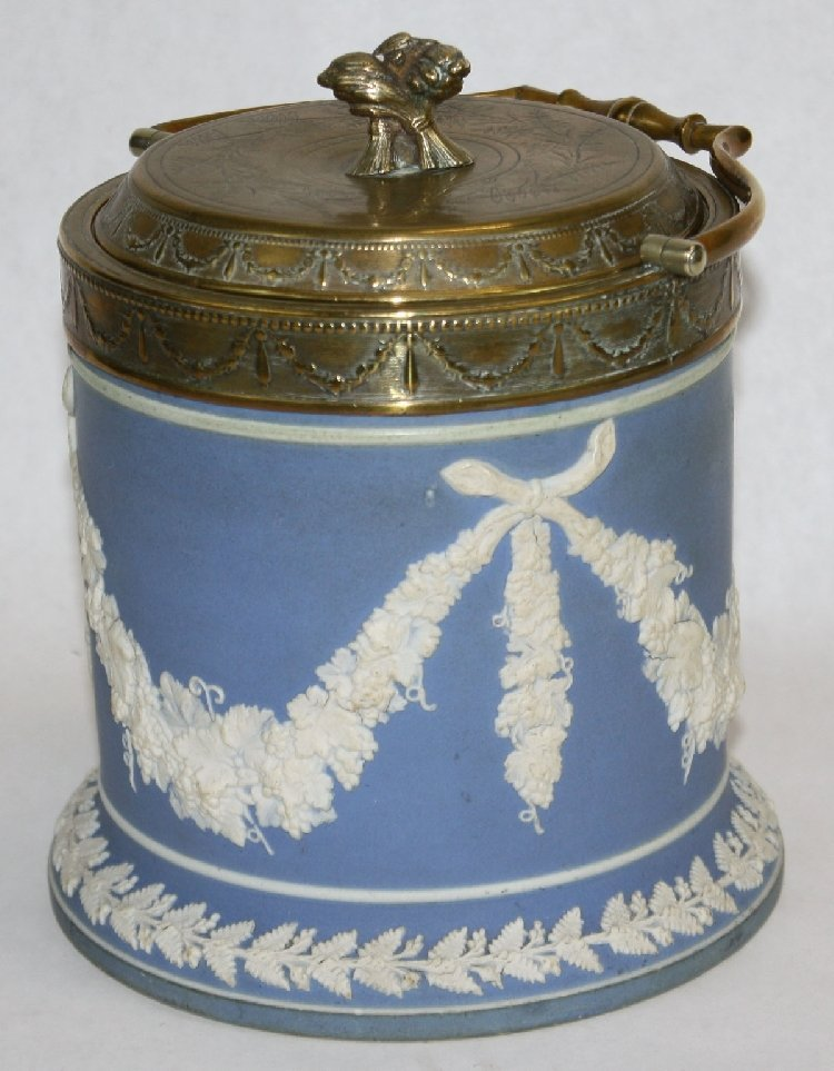 Victorian porcelain biscuit jar with grape vine handle