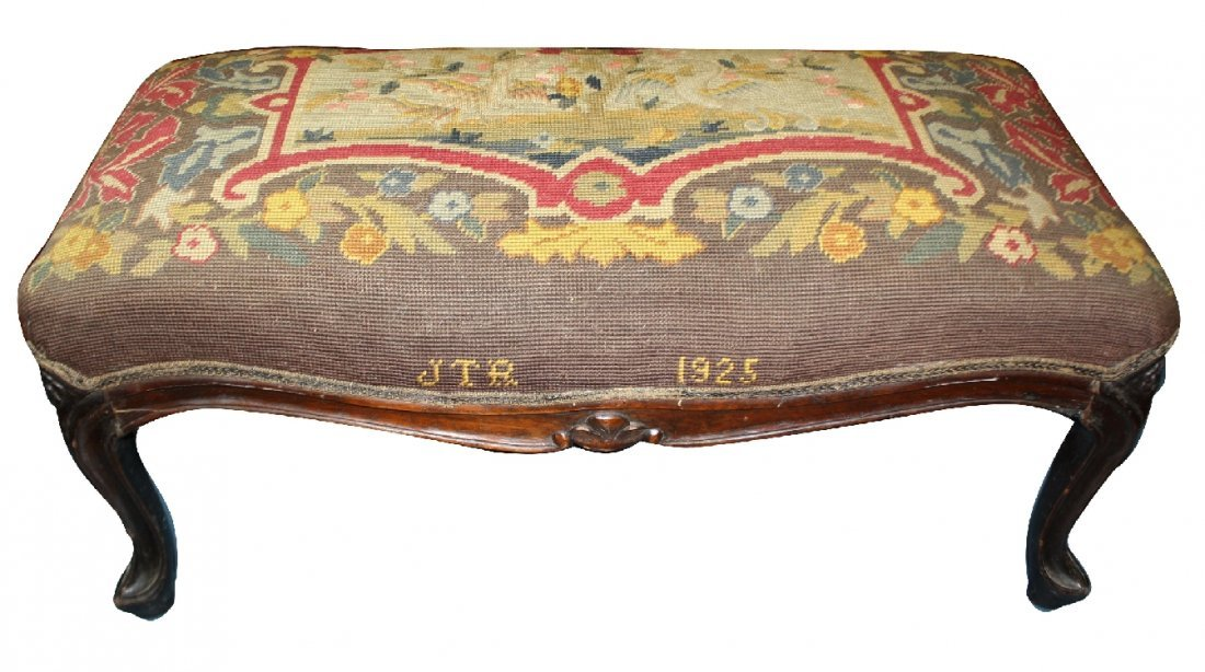 Petit point upholstered foot stool dated 1925