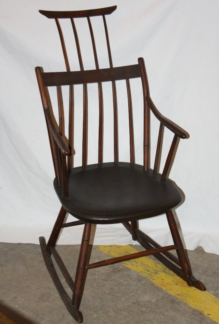Antique American Windsor comb back rocking chair