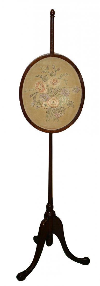 Georgian mahogany pole screen with needlepoint