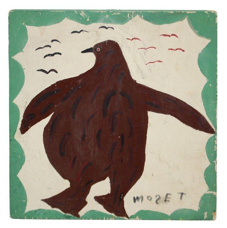 Folk Art painting of penquin signed Mose T