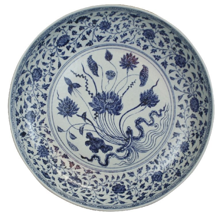 Chinese blue & white charger in Lotus pattern