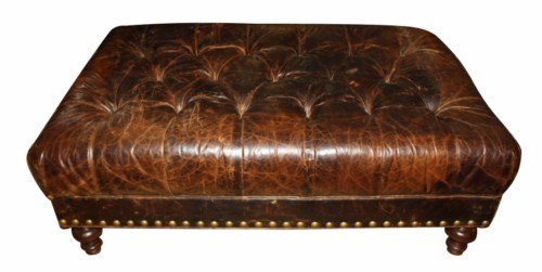 Distressed leather ottoman tufted distressed leather ottoman geotapseo Images