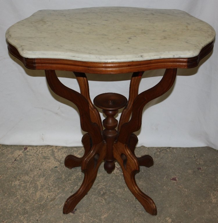 Eastlake side table with marble turtle top