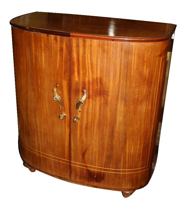 French Art Deco curved front bar cabinet