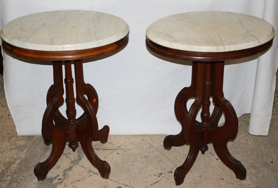 Pair of small Eastlake side tables with marble tops