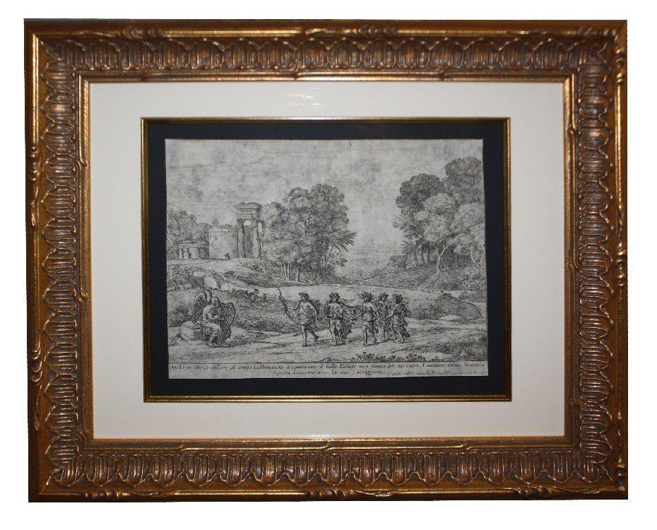 Framed engraving signed Claude Geller c.1662