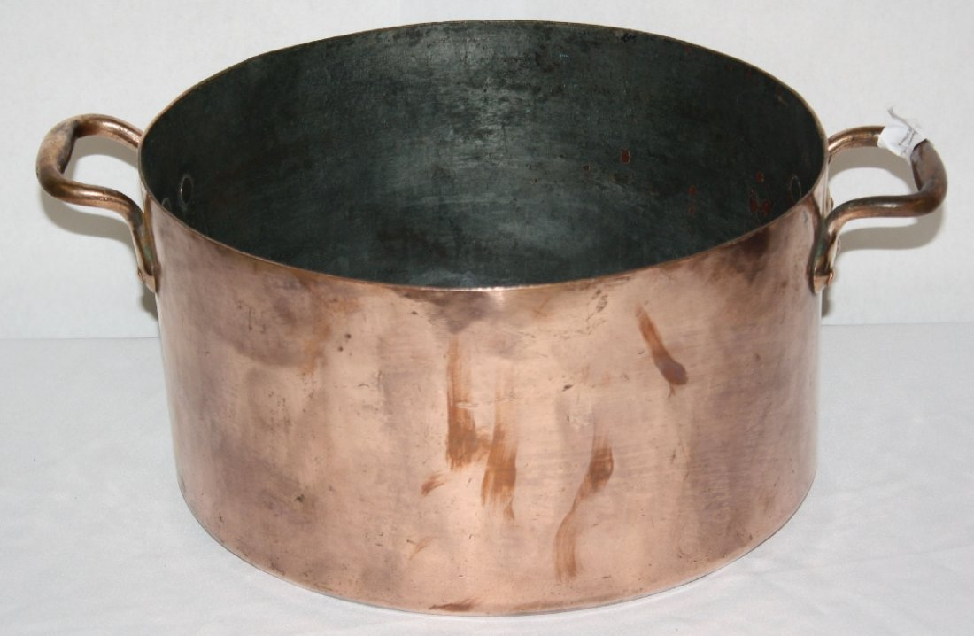 Antique French copper stock pot