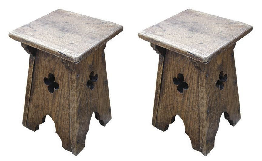 Pair of French gothic oak stools with quatrefoils