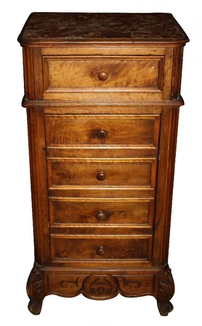 French Louis XV chevet with marble top